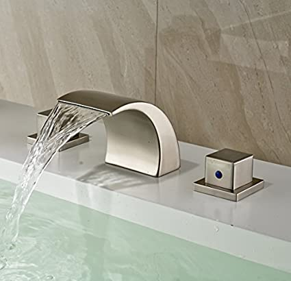 ... 404287 Single Hole Waterall Faucet Brushed Nickel Front2 Waterfall  Bathroom Sink Faucets Pagosa Front8 15z ...