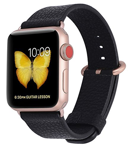 PEAK ZHANG Apple Watch Band 38mm 42mm Women Men Genuine Leather Replacement Wrist Strap with Series 3 Gold/Stainless Steel Clasp for Apple Watch