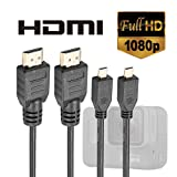 Luxebell High Speed HDMI HD Video Cable for Gopro Hero 6 5 4 Black Silver 3+ 3 and Sjcam Sj4000 Sj5000 - 5feet 1.5m (Pack-2)
