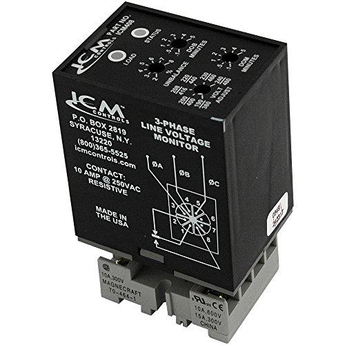 (ICM Controls ICM408 3-Phase Monitor, Adjustable 190-480 VAC, Plug-in Style)
