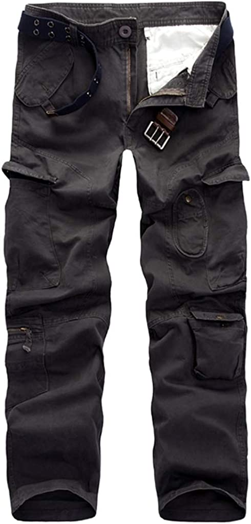 Mens Cargo Pants Casual Stright Leg Military Army Slim Fit Combat Trousers