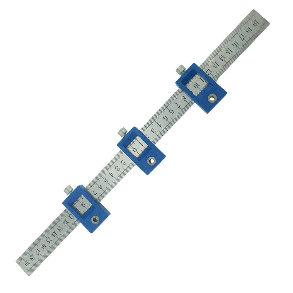 Yofe Guide de per/çage en alliage daluminium pour cabinet de mat/ériel Jig de tiroir Lot de outils de per/çage chevilles Long Bois Ht1469