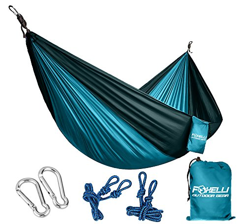 Foxelli #1 Camping Hammock – Ultralight Nylon Portable Parachute, Best for Light Backpacking Survival Beach Travel & Backyard Fun – Tree Ropes and Carabiners Included - Swing Away Seat