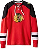 NHL Chicago Blackhawks Men's Centre Long Sleeve Crew Neck Pullover Sweatshirt, X-Large, Red/Black/White