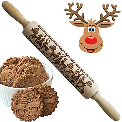 Christmas 3D Wooden Rolling Pins for Baking, Engraved Embossing Rolling Pin for Cookies - Waffles Pastry Dough Pie with Deer Tree Pattern Xmas New Year Creative Gift (Christmas Elk)