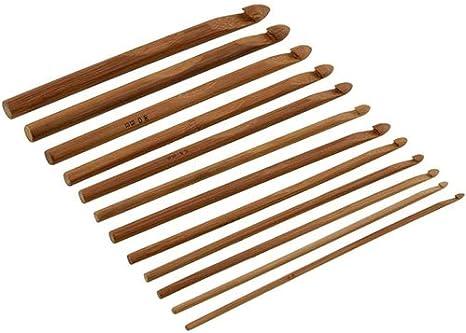 12pcs 3-10mm Bamboo Handle Crochet Hooks Needles Knit Knitting Weave Craft Yarn