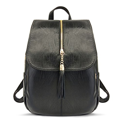 (EssFeel Stylish Leather Backpack School Travel Daypack Casual Style Backpack Knapsack for Women Girl A-Black)
