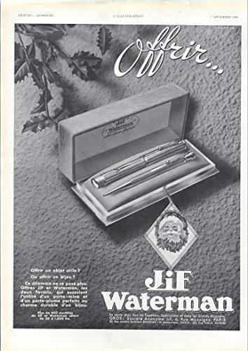 1935-ad-waterman-fountain-pen-jif-santa-claus-french-print-original-vintage-advertisement