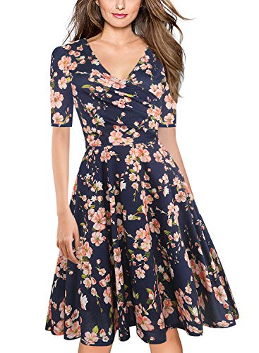 Casual Half Sleeve - oxiuly Women's Vintage Criss-Cross Necklines Half Sleeve Floral Casual Work Party Cocktail Stretch A-Line Swing Dress OX233 (XL, Navy Blue F5)