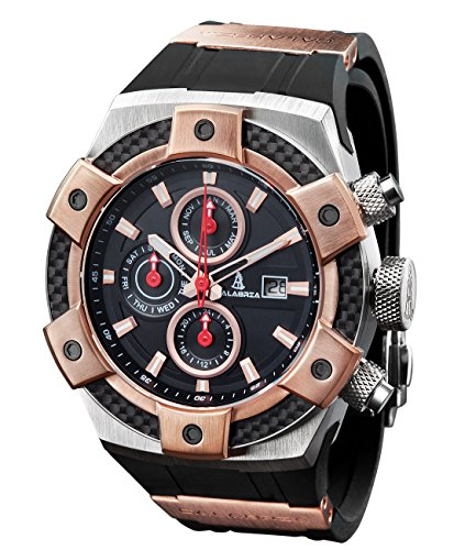 CALABRIA - ARMATO OPACO - Two-Tone Rose Gold Men's Watch with Carbon Fiber - Fiber Bezel Carbon