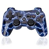 PS3 Controller Wireless Joystick PS3 Remote -OBANG (2017 New)O3 Dualshock Control Gamepad Cheap Game Accessories Kit Including USB Charger with 1-Year-Warranty for PlayStation 3(Lightning Blue)