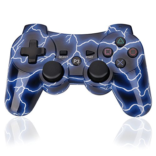 PS3 Controller Wireless Dualshock3 PS3 - OUBANG Upgrade Version Best PS3 Games Remote Bluetooth Sixaxis Control Gamepad Heavy-duty Game Accessories for PlayStation3,with PS3 Charger (Lightning Blue)