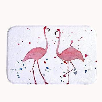 Rioengnakg Ein Paar Flamingo Liebhaber Badteppich Coral Fleece