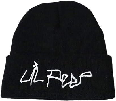 DODENSHA Gorro Lil Peep, Gorro de Algodón, Gorros de Punto, Gorro de Invierno de Punto, Gorro de Hip Hop Adolescente y Chicas Sombrero de Punto Lil Peep Gorro Unisex Hombres, Mujeres (Negro-2):