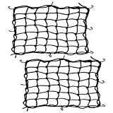 Orion Motor Tech 2pcs 15 X 15 inch Motorcycle Accessories Luggage Rack Cargo Net Bungee Straps Stretch to 30 x 30 inch with 8 Removable Hooks, Tight 2 x 2 inch Mesh, Helmet Scooter Net for Motorcycle Sports Bike Bicycle with Carrying Bag