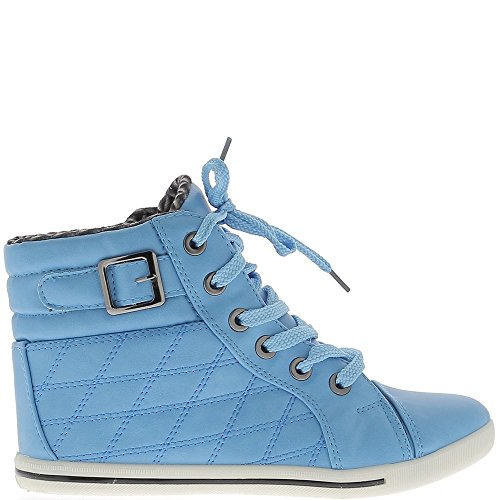 Sneakers blue woman rising and lined padded