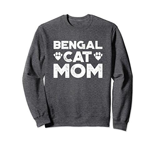 Unisex Funny Cat Sweatshirt for Women - Bengal Cat Mom Small Dark Heather