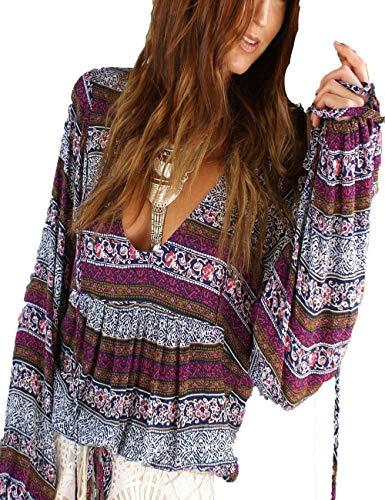 Giovane Moda Manica Casuale Boho Lunga Camicia Primaverile Stampate Bendare Tops Accogliente Camicie Casual V Elegante Floreale Top Grau Violett Battercake Donne Donna neck Pattern 4wRqxA4I