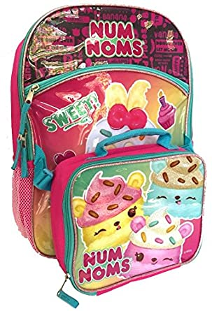 "Amazon.com: Num Noms 16"" Birthday Cake Backpack with Detachable Insulated Lunch Tote: Clothing"
