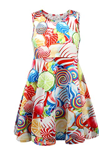 TWKIOUE Girls Summer Floral Print Sleeveless Flared Maxi Dress Lollipop 150cm