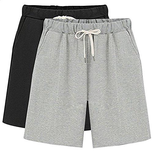 XinDao Women's Elastic Waist Soft Jersey Knit Bermuda Shorts with Drawstring