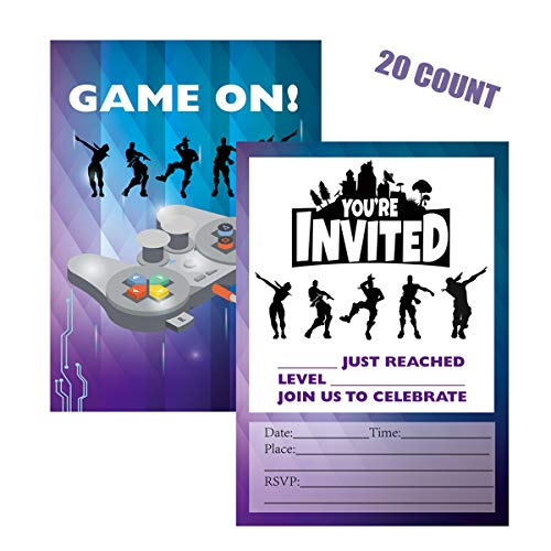 Weimaro Video Game Invitations, 20 Invitations + 20 Envelopes, Double Sided Battle Video Game Invitations for Kids Boys Game Lovers Birthday Baby Shower Game Themed Party -