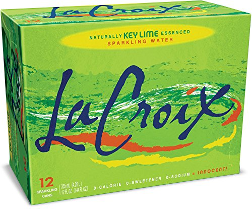 - LaCroix Sparkling Water, Key Lime 12oz Cans, 12 Pack, Naturally Essenced, 0 Calories, 0 Sweeteners, 0 Sodium