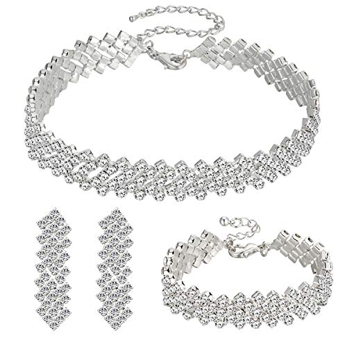 Choker Necklace for Women - Jewelry Sets for Women,Rhinestone Crystal Necklace Link Bracelet Teardrop Dangle Earrings for Women,Party Mother's Day Prom Wedding Fashion Jewelry Gift (5)
