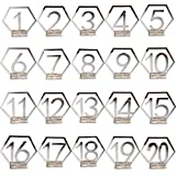 Liangxiang 1-20 Wedding Table Numbers Holders, Acrylic Mirror Placeholders Table Stands Cards Numbers Plate Ornaments Decors for Wedding Events, Birthday Party or Catering Table Decoration (Silver)