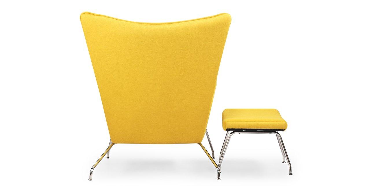 Amazoncom Kardiel Hans J Wegner Style Wing Chair U Ottoman Citron Boucle  Danish Wool Kitchen U Dining With Fdl Inc Chairs.