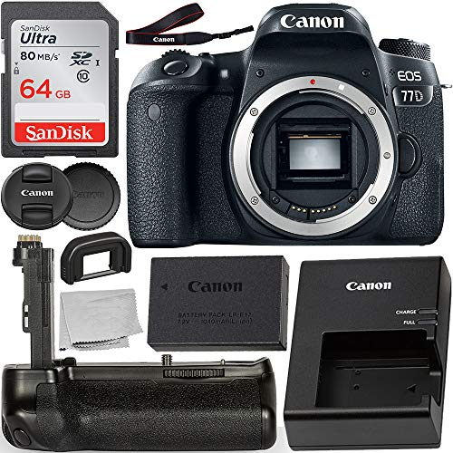 Canon EOS 77D DSLR Camera (Body Only) with Pro Series Multi-Power Battery Grip, and Starter Bundle: Bundle Includes – SanDisk Ultra 64GB Class 10 Memory Card and More