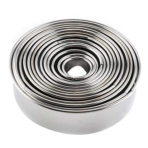 Aulley 14pcs 430 Stainless Steel Cake Mousse Molds Set Round Form Small Baking Ring Moulds Kit Kitchen Tool