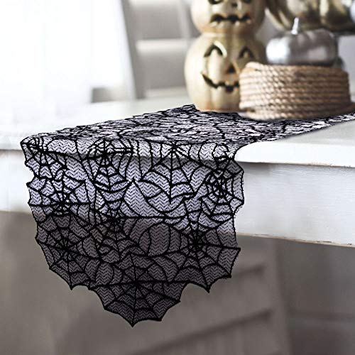 "AerWo 20""×80"" Polyester Lace Halloween Table Runner, Large Black Spider Web Table Runner for Halloween Dinner Parties and Scary Movie Nights Table Decoration -"