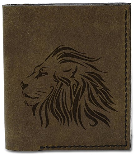 Men's d Handmade Genuine Leather Lion Tatoo Lion Natural Style 19 04 MHLT Wallet Style Tatoo 6wrt6qxTU