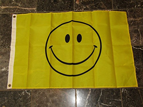 ALBATROS 2 ft x 3 ft Happy Smiley Face Smile Rough Tex Knitted Flag 2x3 Brass Grommets for Home and Parades, Official Party, All Weather Indoors Outdoors