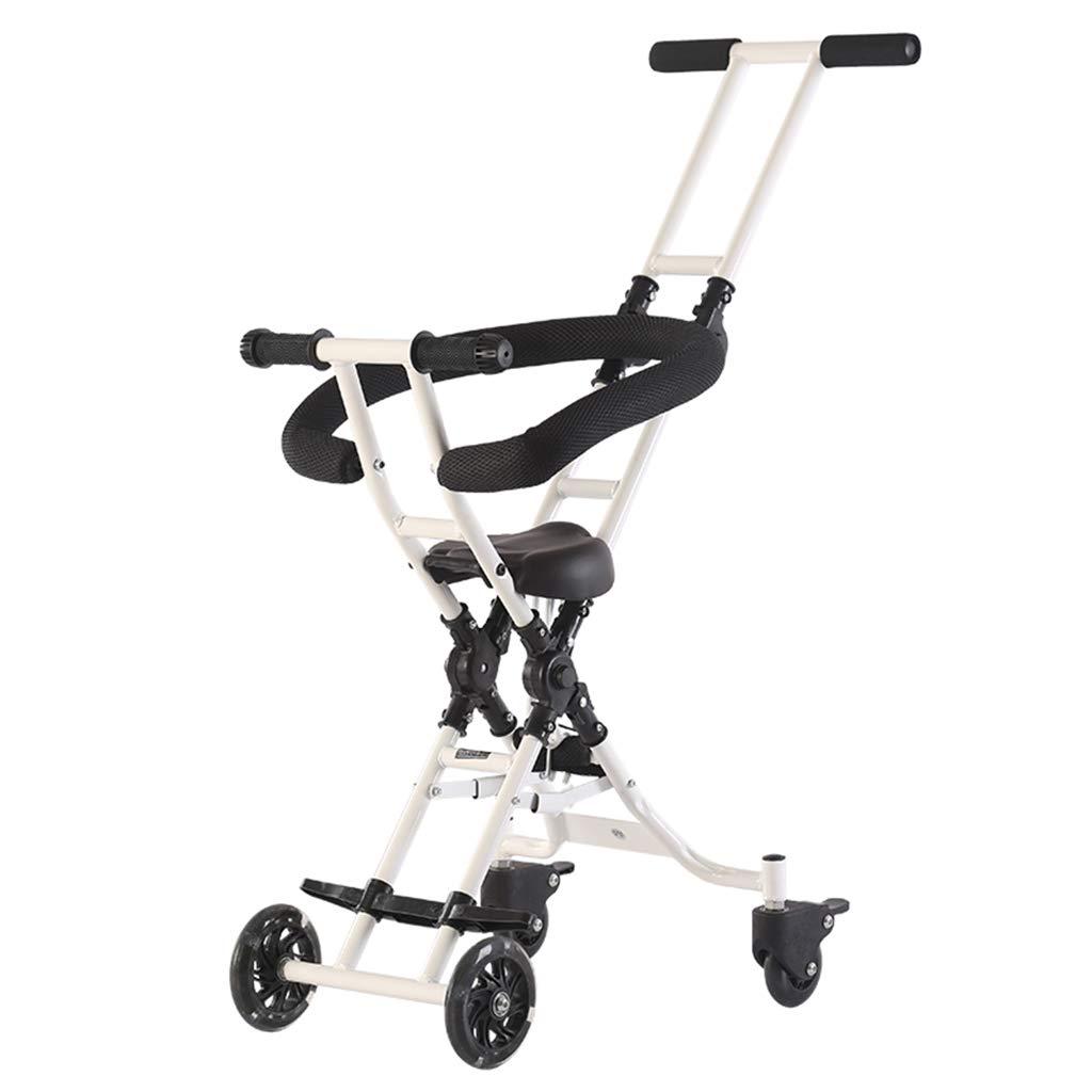Baby Four-Wheeled Shatter-Resistant Lightweight Folding Children's Trolley Trend Adventure Travel System Range Aviation Aluminum White 6.30