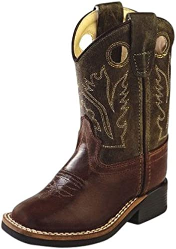 BSC1877 Old West Children/'s Stiched Olive Cowboy Boot Square Toe