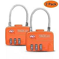 Serrures à bagages, Tacklife HCL1A Cadenas à Combinaison, 3 Chiffres pour Valise,Bagages, Sacs, Approuvé par la TSA Voyage Sécurisé- Orange