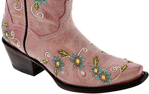 Fusils Dor - Femmes Cuir Rose Brodé Floral Cow-boy Cow-girl Bottes Snip Toe Rose