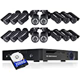 DEFEWAY 16ch CCTV Camera Security System with 16Channel 1080N DVR, 16 Weatherproof 720P HD Cameras, Indoor & Outdoor, 100ft Night Vision, Motion Detection, 2TB Hard Drive