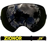 IceHacker Vision Eyewear Anti-fog and UV Protection Snowboard Skate Ski Goggle Protective Ski Glasses with Unique Design Double Lenses For Adults/Men/Women All Black (Black Yellow Band)
