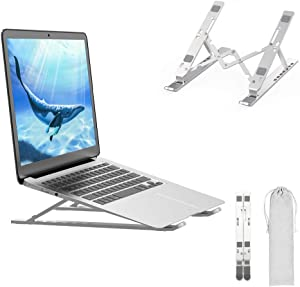"""Adjustable Laptop Stand Foldable Aluminum Alloy, ZHENREN Laptop Holder Computer Tablet Stand, Ergonomic 7 Levels Height Adjustment, Compatible with iPad, Lenovo, Dell, More 10-15.6"""" Laptops"""