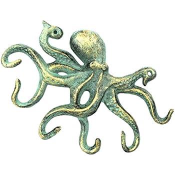 Antique Bronze Cast Iron Octopus Hook 11 Inch - Decorative Hook - Sealife Metal Wall Hook