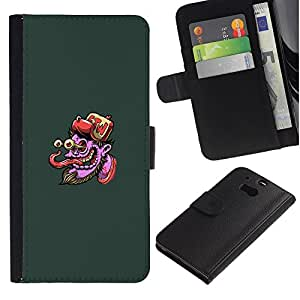 NEECELL GIFT forCITY // Billetera de cuero Caso Cubierta de protección Carcasa / Leather Wallet Case for HTC One M8 // Pulpo púrpura Cara - Pop Art