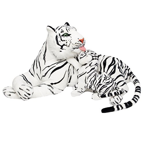 Huge Tiger - BRUBAKER White Plush Tiger with Baby - 40 Inches - Soft Toy Stuffed Animal