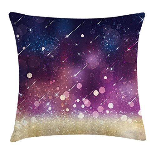 Space Throw Pillow Cushion Cover, Shooting Stars Scenery Celestial Galaxy Themed Cosmos Motion Image Art, Decorative Square Accent Pillow Case, 18X18 Inches, Navy Blue Plum Gold Celestial Throw