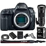 Canon EOS 5D Mark IV CMOS DSLR Camera (Body) Wi-Fi NFC 4K Video w/Bundle Includes, Sigma 150-600mm F5-6.3 DG OS HSM Zoom Lens for Canon DSLR Cameras + Lexar 64GB 1000x SDHC/SDXC Class 10 Memory Card