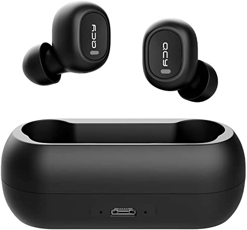 Wireless Earbuds, QCY Wireless Bluetooth Earbuds 5.0 3D Stereo Sound True Wireless Headphones with Built-in Microphone, Instant Pairing Earphones with Portable Charging Case for All Mobile Systems