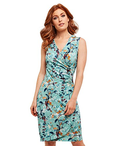 Joe Browns Womens Sleeveless Jersey Wrap Dress in Floral Print Light Green Multicolored 4