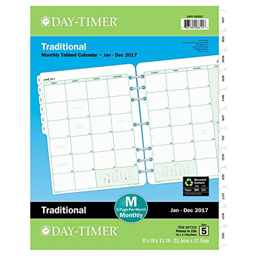 Calendar Refill Pages : Day timer monthly planner refill two page per month
